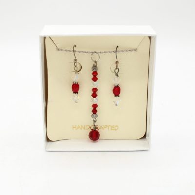 Red & Clear Glass Bead Earring & Necklace Set