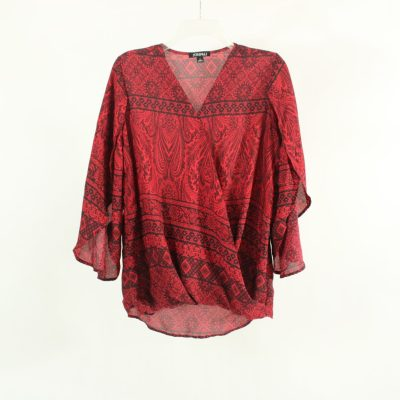 Roz & Ali Red Paisley Blouse | Size S