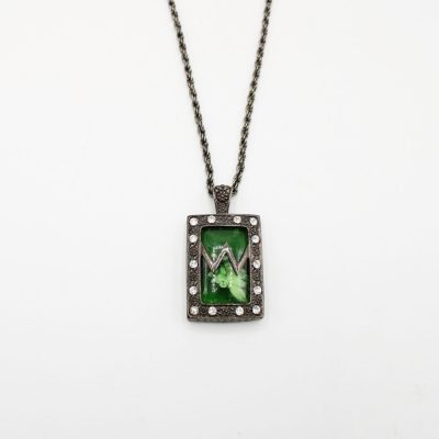 Black Metal Green Pendant Necklace