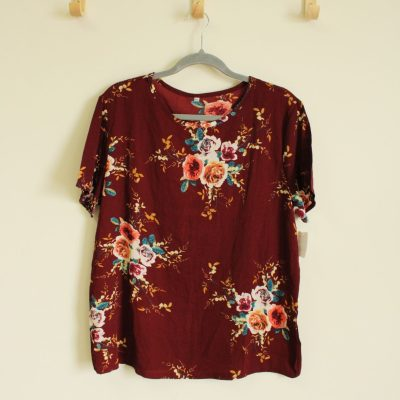 Burgundy Floral Top | Size XL
