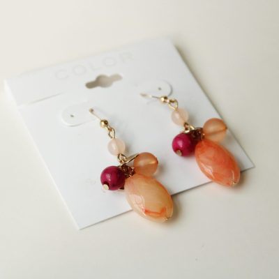 COLOR Coral Pink Glass Bead Dangle Earrings
