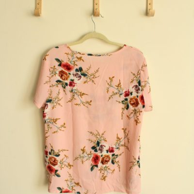 Pink Floral Blouse | XXL (Fits like an XL)