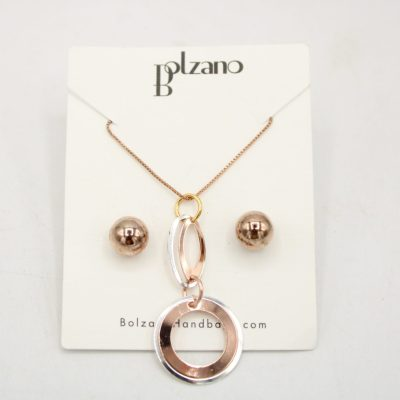 Bolzano Rose Gold Necklace & Stud Earrings