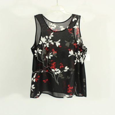 Petra Fashions Polyester Black & Red Top   Size 1X