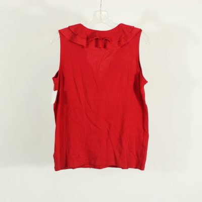 Chaps Red Lace Up Neck Top | Size L