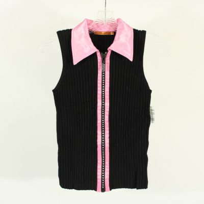 Belldini Black Ribbed Knit Zip Up Vest Top | Size M