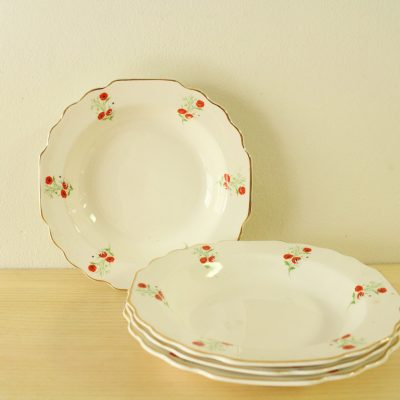 RARE Lido W.S. George White 183A Made In The USA Poppy China Bowls | Set Of 4