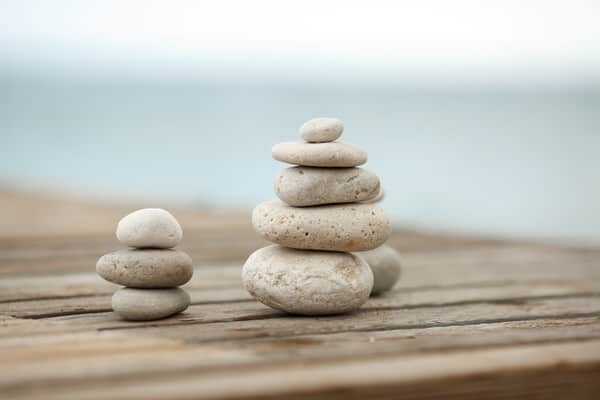 mindfulness meditation at midlife+stones