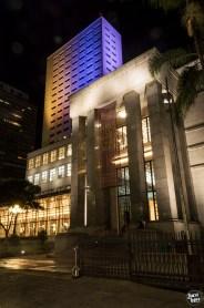 Biblioteca Mário de Andrade - Fachada iluminada a noite - Fotografia: Juca Lopes