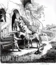 Rembrandt Etching Study - The Good Samaritan - Final Illustration by Judah Fansler (Yet another Daily Doodle) - Design Ninja, Artist, Owner at Judah Creative, a Graphic Design & Illustraiton Studio near Branson & Springfield, MO.