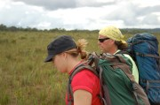 Dr. Terry Henkel and I hiking in from the air strip to our research camp on the Pegaimah Savannah, Region 7, Guyana, December 2011