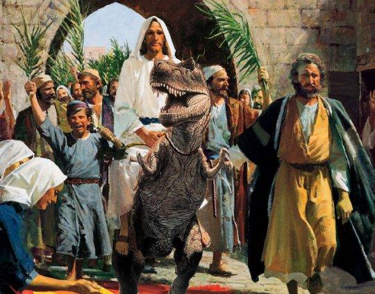 Essa foi a verdadeira função dos ramos -- alimentar o T-Rex herbívoro de Jesus.
