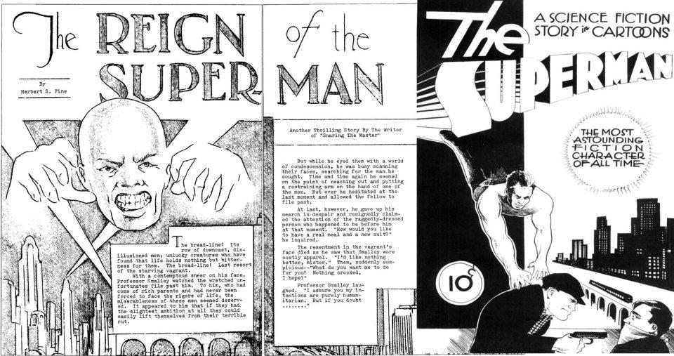 O super-vilão careca (;D) e o primeiro super-herói, que nunca chegou a ser publicado