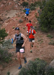 Runners makes their way along the Flying Monkey Trail above Virgin early Friday, April 8, 2016 during the Zion 100 ultra marathon trail race. Runners competing in the 100K and 100 mile distances left the starting line Friday morning while runners competing in 55K and half-marathon distances will start Saturday morning. Despite a high probability of rain over the weekend, nearly 300 runners took of from the starting line Friday morning and more than another 200 were expected to run Saturday.