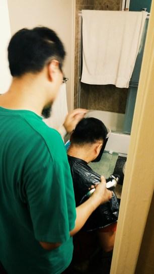 MJ getting his hair did