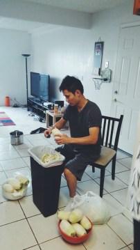Daniel prepping the radish.