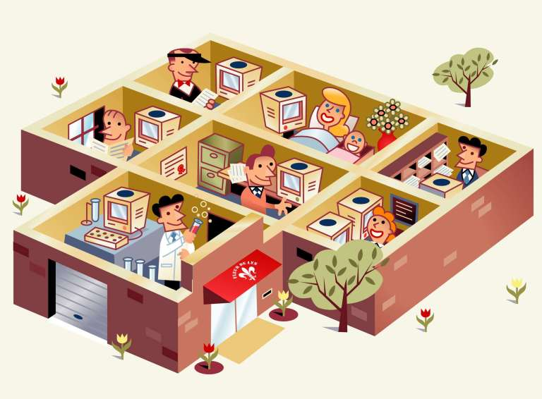cartoon laboratory and office workers