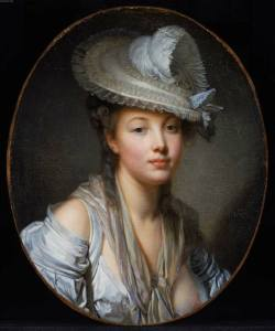Young Lady in a White Hat by Jean Baptiste Greuze