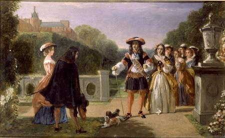 HSP185015 King Charles II (1630-85) and Nell Gwynne (1650-87) (oil on canvas) by Ward, Edward Matthew (1816-79) oil on canvas © Royal Hospital Chelsea, London, UK English, out of copyright