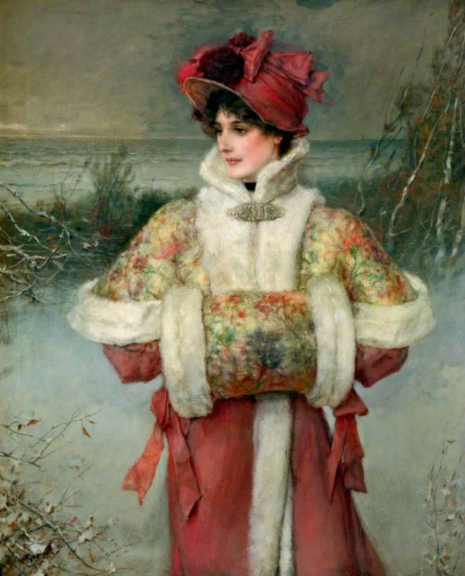 lady in snow broughton