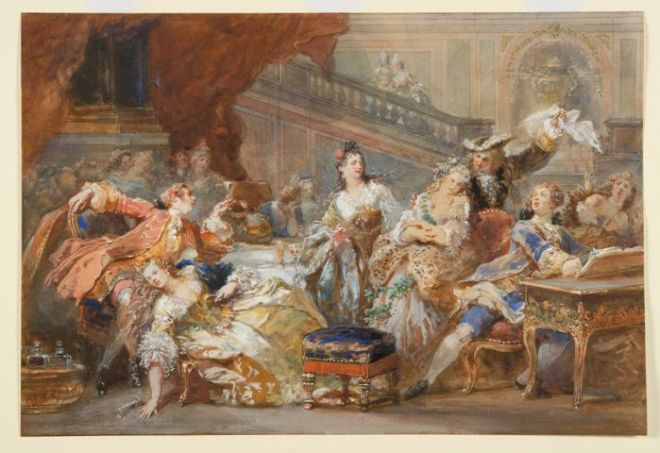 WALLACE COLLECTION - THEATRES OF LIFE   Eug ne Lami, A supper during the Regency or The Prodigal Son or The orgy, 1853 Waddesdon, The Rothschild Collection (Rothschild Family Trust)   The National Trust, Waddesdon Manor.  Photographer: Mike Fear  127.1995_c_2.jpg