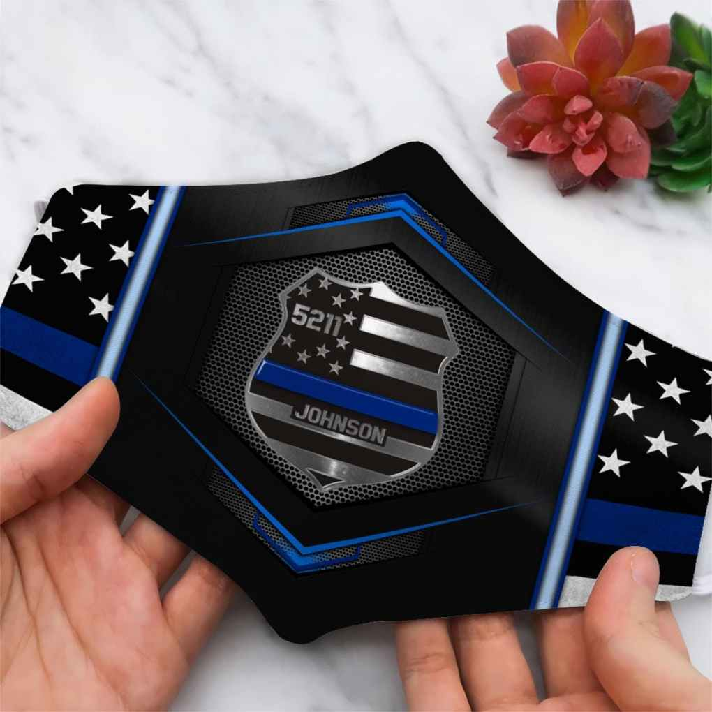 Custom Police Badge, Custom Police Badge Number Face Mask All Over Printed