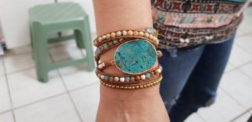 Handmade Leather gilded azure wrap bracelet - Natural Ocean Jasper Beaded