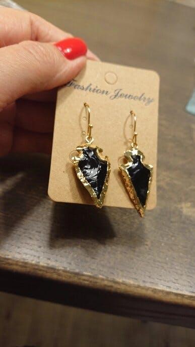 Natural Obsidian Stones Arrowhead Bohemian Dangle Earrings