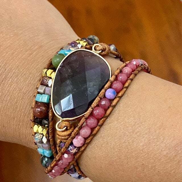 Amethyst Stone - Fancy Art Triple layered Bohemian wrap Bracelet