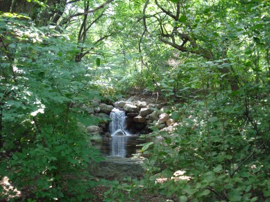 The park has waterfalls tucked away into its walking paths.