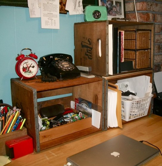 Wooden soda crates = Desk shelving