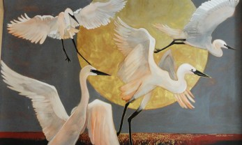 Cranes with Moon - 40x60 - watercolor - $1250