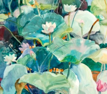 Lotus and Dragonflies - 23X29 - watercolor - $375