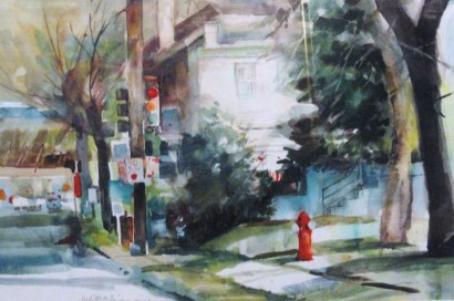 Near Jefferson Street - 12x18 - watercolor - $175