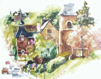 Stillwater Churches - 22x25 - watercolor - $750