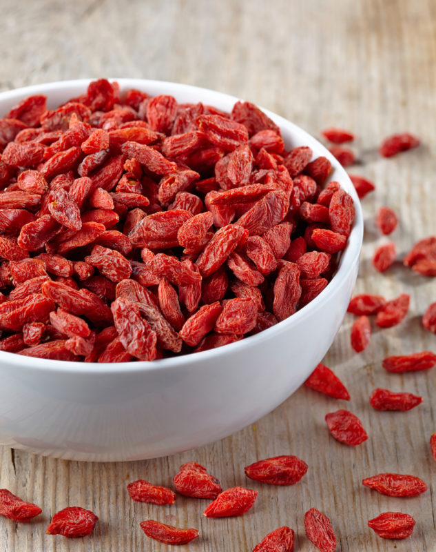 Bowl of dried goji berries