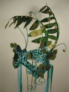 Green Masquerade Mask side