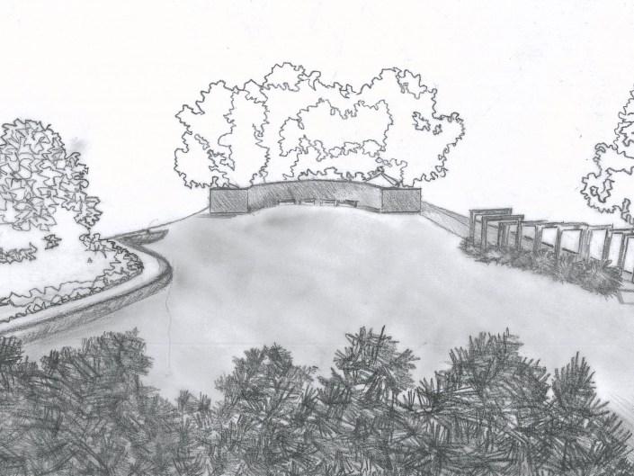 Perspective view hand rendered Surrey garden