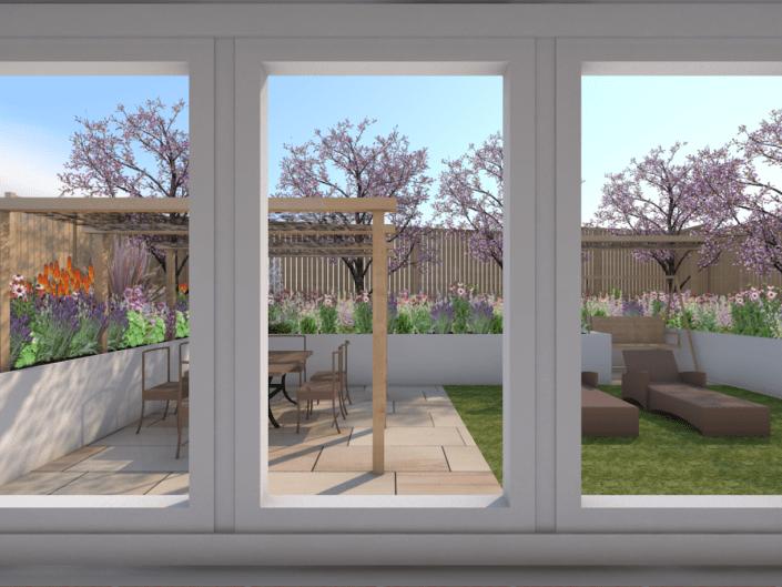 3D CAD visualisation Kitchen Window View small suburban garden