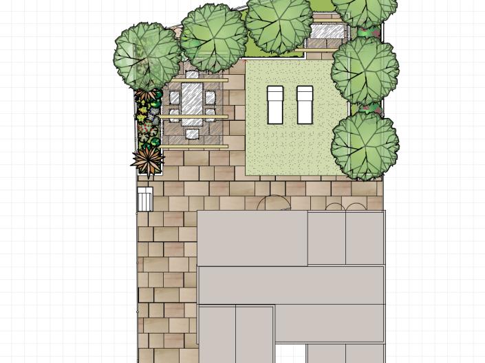 Plan View small urban garden in Surrey