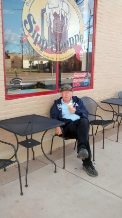 Bold Jim eating Ice cream