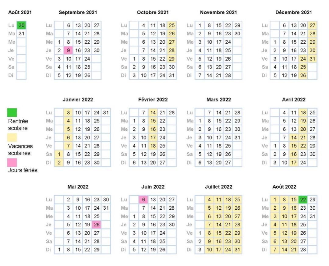 calendrier scolaire genèeve 2021-2022