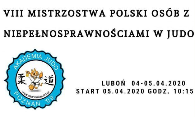 Mistrzostwa Polski Osób z Niepełnosprawnościami w Judo Luboń2020