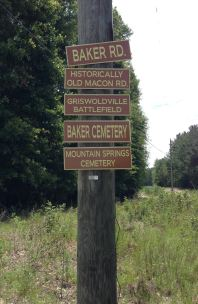 Baker Road marker