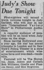 Los Angeles Times article about Judy Garland's opening at the Los Angeles Philharmonic April 21, 1952