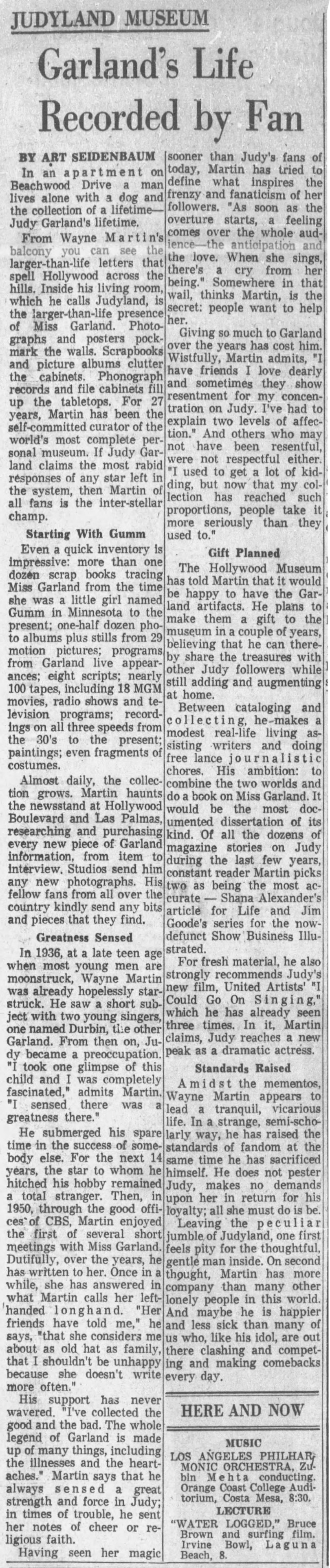 Judy Garland Wayne Martin Los Angeles Times article about Wayne Martin April 13, 1963