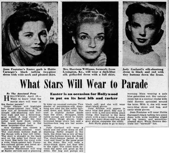 What Judy Garland will wear to the 1949 Hollywood Easter Parade