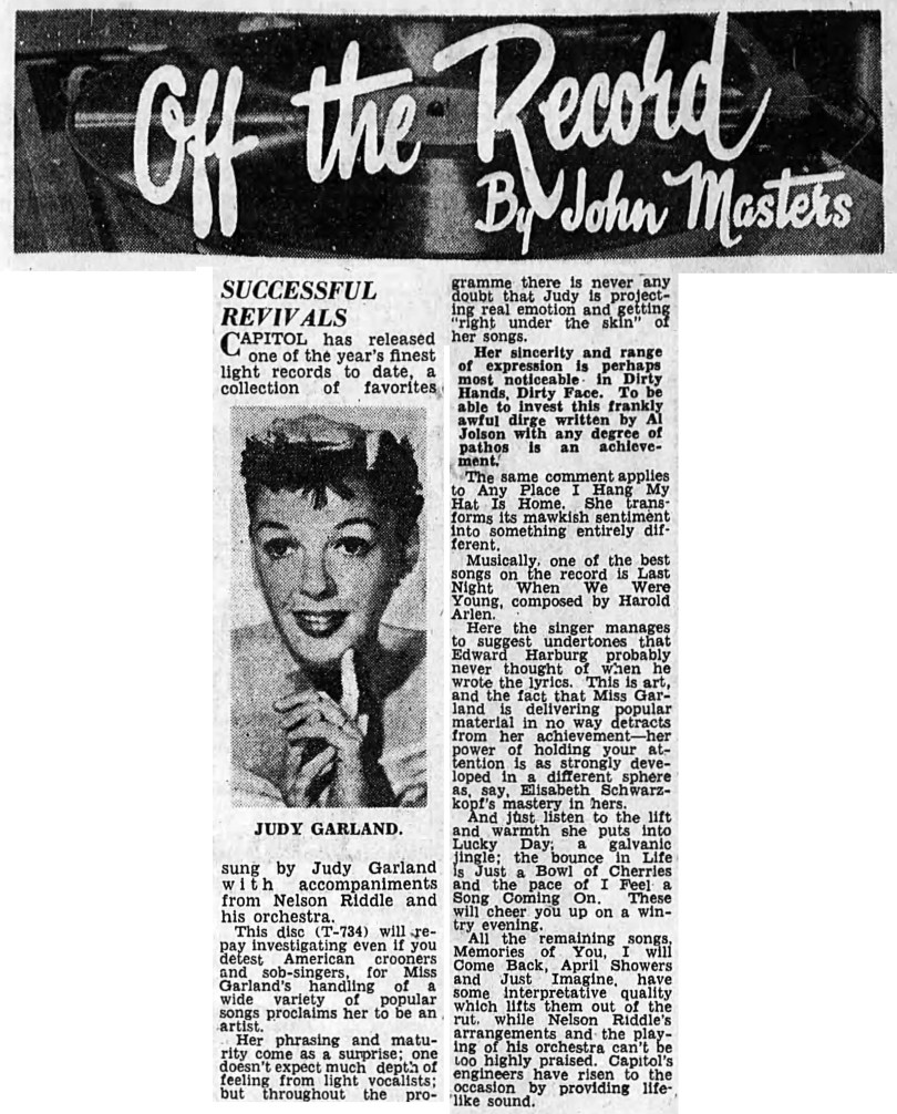 "Off The Record by Jon Masters review of ""Judy"" by Judy Garland"