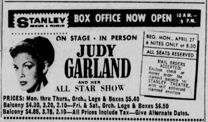 Judy Garland in concert in Baltimore April 27, 1959