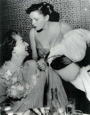 Judy Galrand and Joan Crawford at Romanoff's after Garland's Los Angeles Philharmonic opening night April 21, 1952